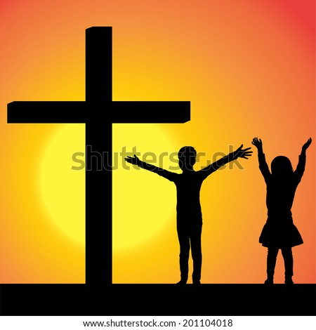Vector silhouettes of children at the Cross at sunset. - stock vector