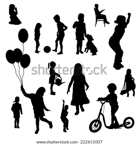 Vector silhouettes of children in various situations a white background.