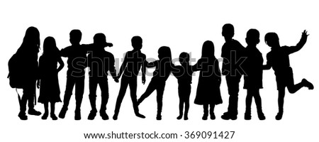 Vector silhouettes of children on a white background.