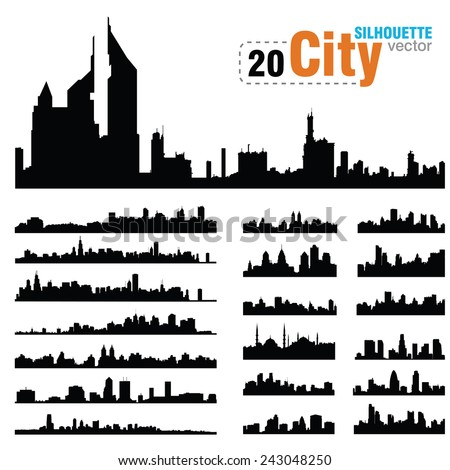 Vector silhouettes of city skylines - stock vector