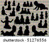 vector silhouettes of cute little babies - stock vector