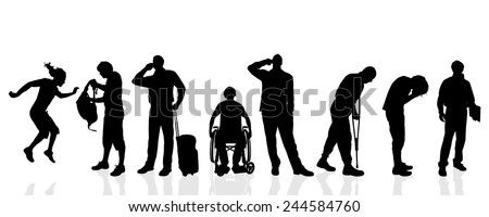 Vector silhouettes of different men on a white background. - stock vector