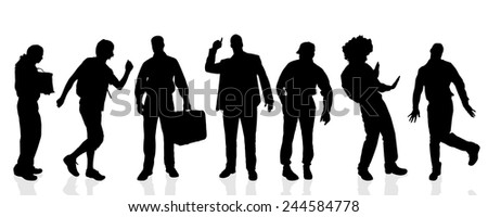 Vector silhouettes of different men on a white background.
