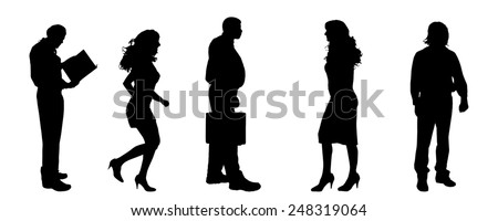 Vector silhouettes of different people on a gray background. - stock vector
