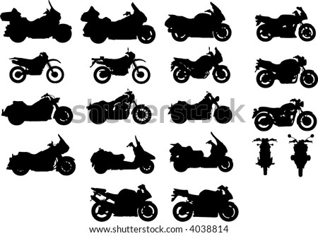Vector silhouettes of different types of motorcycles