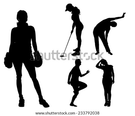 Vector silhouettes of different women in different sports. - stock vector