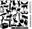 Vector Silhouettes of Dogs, Puppies and Accessories in different actions - stock vector