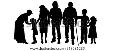 Vector silhouettes of family on a white background.