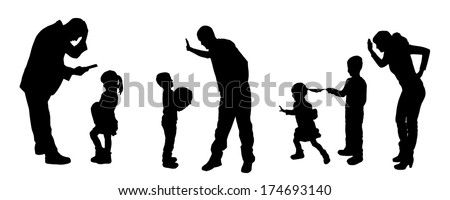 vector silhouettes of father and mother with children.