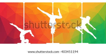 Vector silhouettes of female pole dancers performing pole moves on abstract polygonal hipster background.