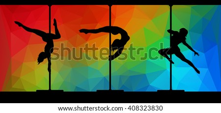 Vector silhouettes of female pole dancers performing pole moves on abstract polygonal hipster background. - stock vector