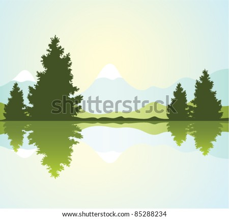 vector silhouettes of fur-trees with reflection in water and mountains - stock vector
