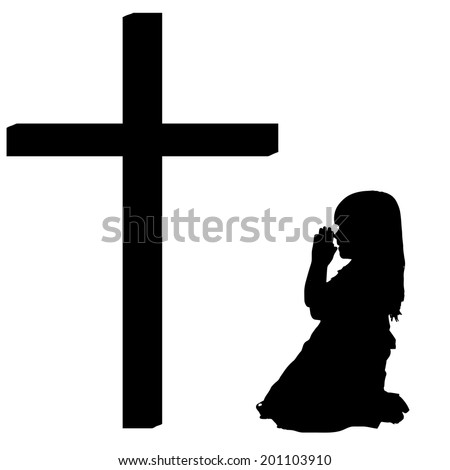 Vector silhouettes of girl at the Cross on white background. - stock vector