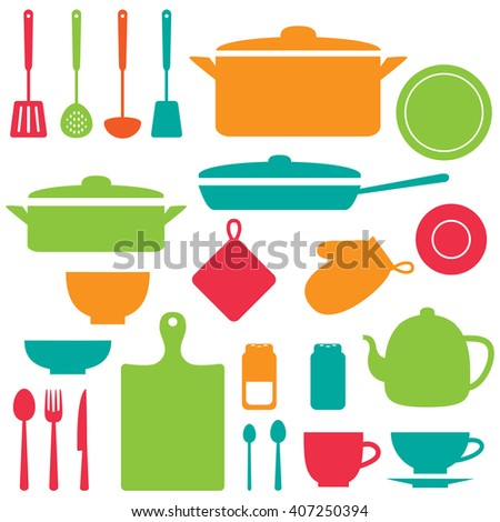 Vector silhouettes of kitchen tools and utensil - stock vector