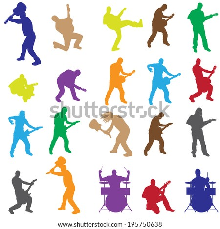 Vector silhouettes of musicians with different instruments. - stock vector
