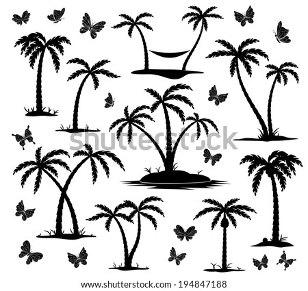 vector silhouettes of palm trees and butterflies on white background - stock vector