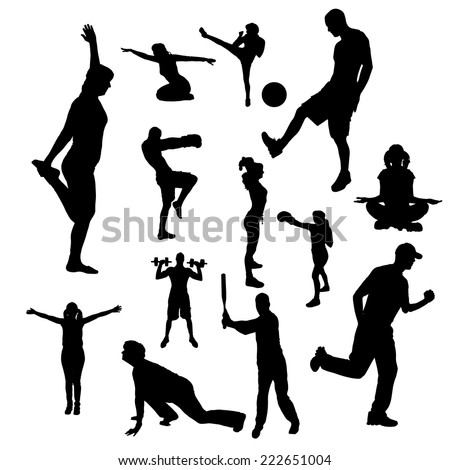 Vector silhouettes of people doing sports on a white background.