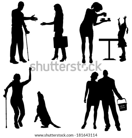 Vector silhouettes of people in different situations. - stock vector