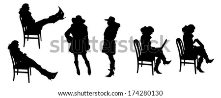 vector Silhouettes of people on a white background