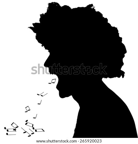 Vector silhouettes of people on black background.