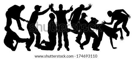 Vector silhouettes of people who dance and jump.