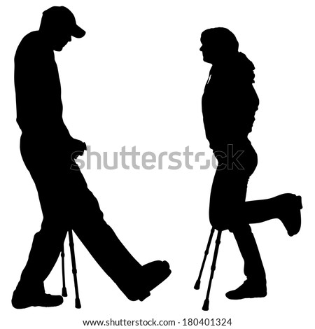 Vector silhouettes of people with crutch on a white background.