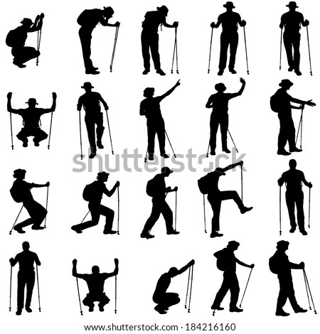 Vector silhouettes of people with walking bare on a white background.