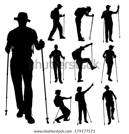 Vector silhouettes of people with walking on a white background.