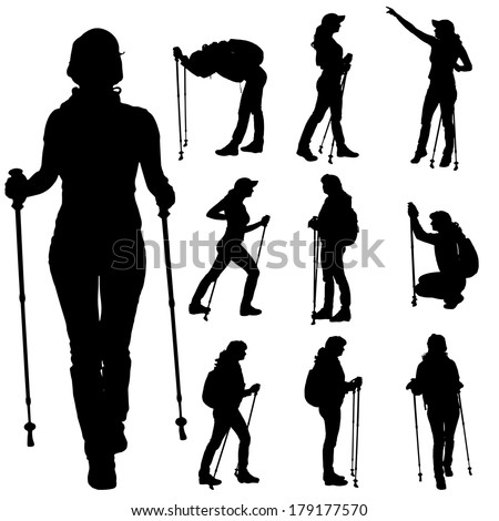 Vector silhouettes of people with walking sticks on a white background.  - stock vector