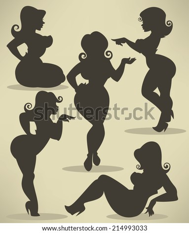 vector silhouettes of plus size pinup girls