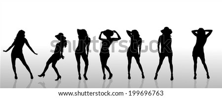 Vector silhouettes of sexy women on white background.