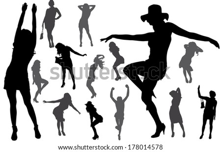 Vector silhouettes of sexy women with long hair.