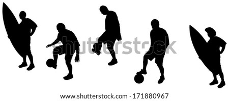 Vector silhouettes of sporting activities with a balloon.