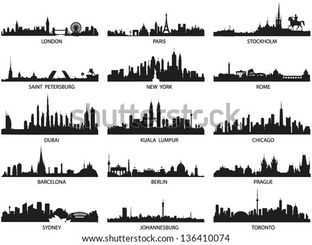 Vector silhouettes of the worlds city skylines - stock vector