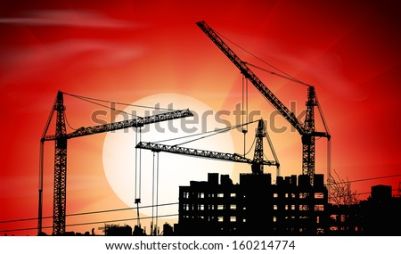 Vector silhouettes of three cranes on a sunset - stock vector