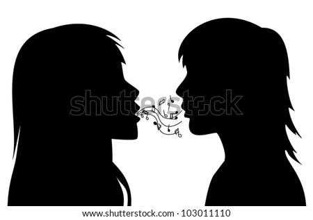 vector silhouettes of two young women. One is singing to the other.