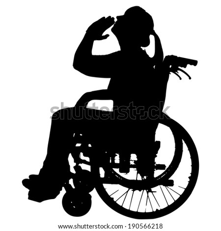 Vector silhouettes of woman in a wheelchair on a white background.