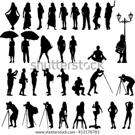 vector silhouettes of woman on vacation and male photographers, men and women illustrations isolated on a white background