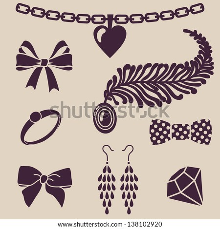 vector silhouettes of women`s accessories - stock vector