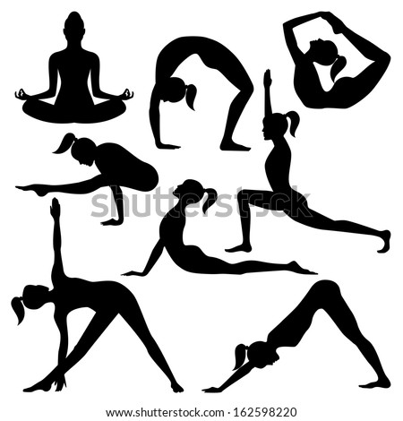 Vector silhouettes of yoga positions isolated on a white background - stock vector