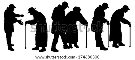 Vector silhouettes old people with auxiliary poles. - stock vector
