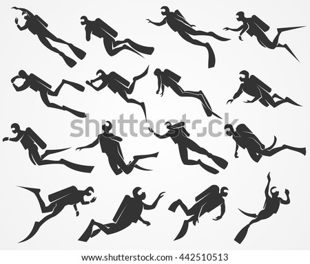 Vector silhouettes scuba divers swimming in the sea or ocean