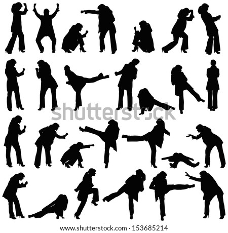 Vector silhouettes set - office women fighting on white - stock vector