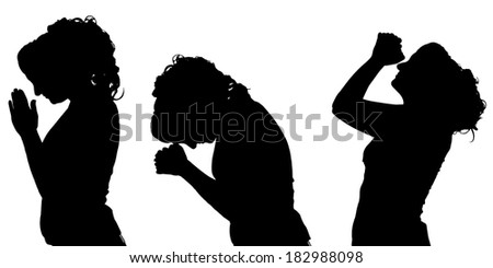 Vector silhouettes woman in profile on white background.