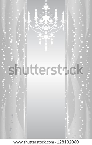 Vector silver background with chandelier - stock vector
