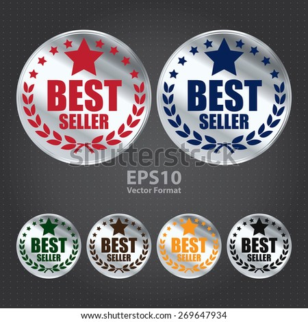 vector : silver circle best seller sticker, tag, sign, icon, label - stock vector