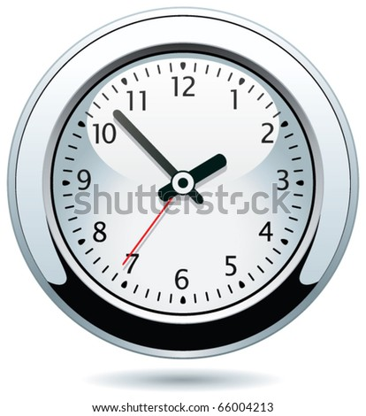 vector silver clock - stock vector