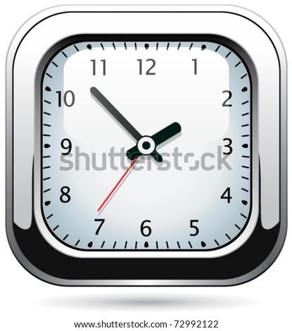 vector silver clock - stock vector