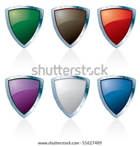 vector silver framed shields in six colors