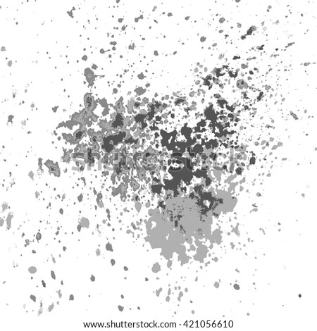 Vector silver glitter paint splash, splatter, and blob shiny on white background. Glowing spray stains abstract background, vector illustration.